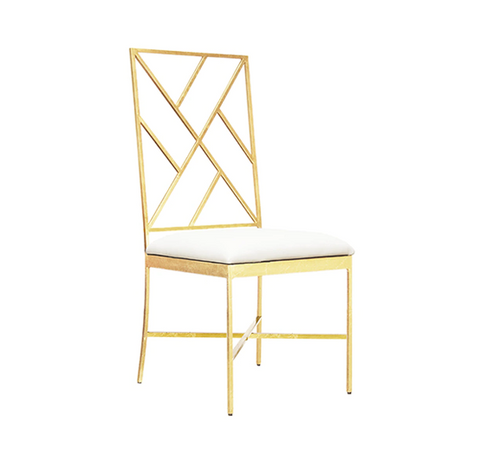 Fretwork Back Gold Leaf Chair with White Vinyl Cushion