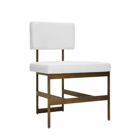 Modern Dining Chair with Bronze Base and Cushion in Various Colors