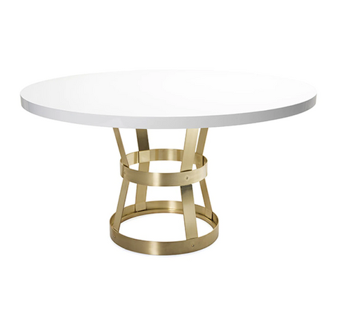Industrial Style Dining Table Base in Antique Brass with White Lacquer Top