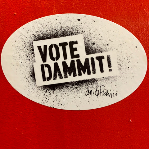 Vote Dammit Oval Sticker