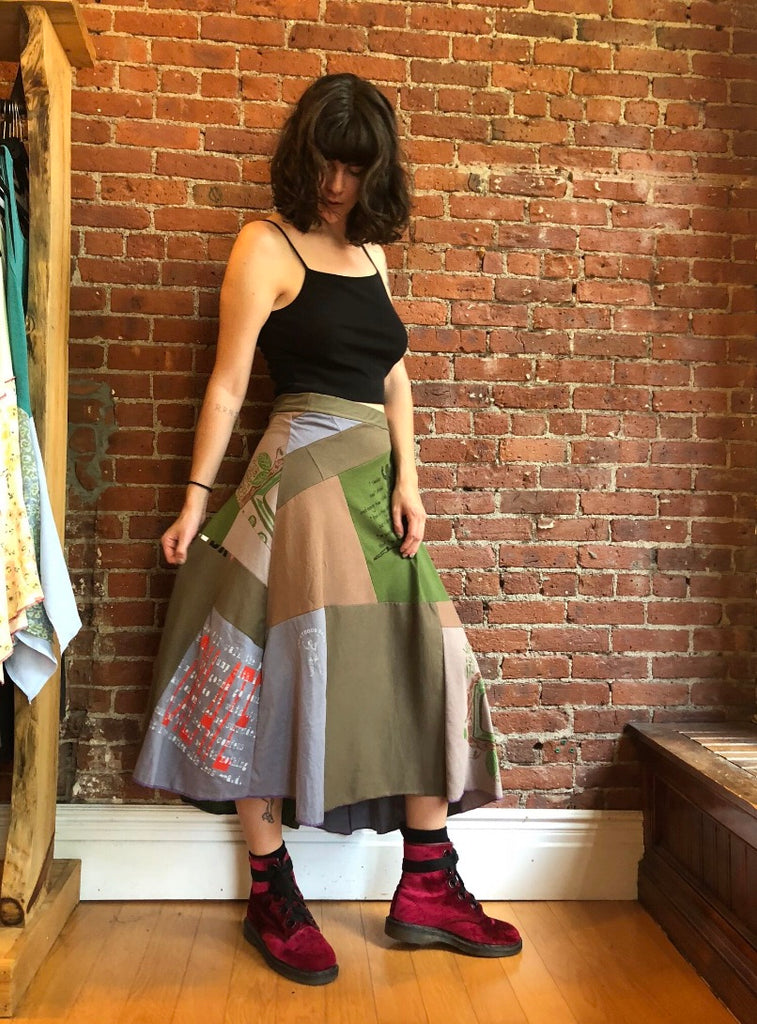 Earthy Patchwork Circle Skirt