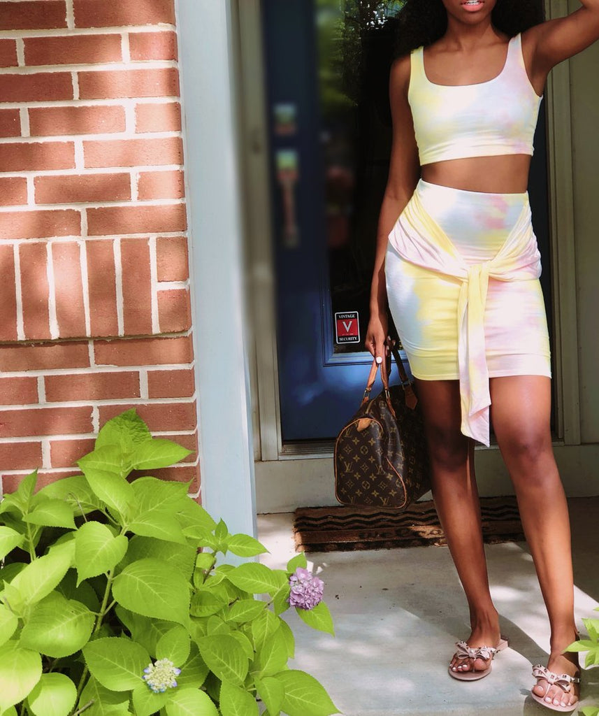 Khlomil.com Pink Lemon Skirt Set