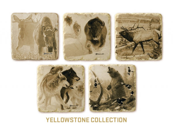 Italian Yellowstone Marble Coasters - Sporting Classics Store