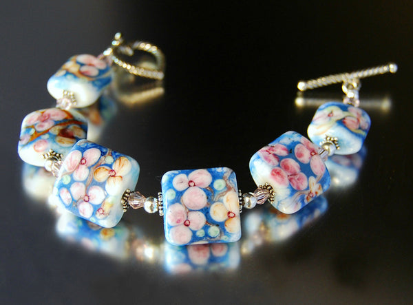 Handmade Dogwood Trails Glass Bracelet
