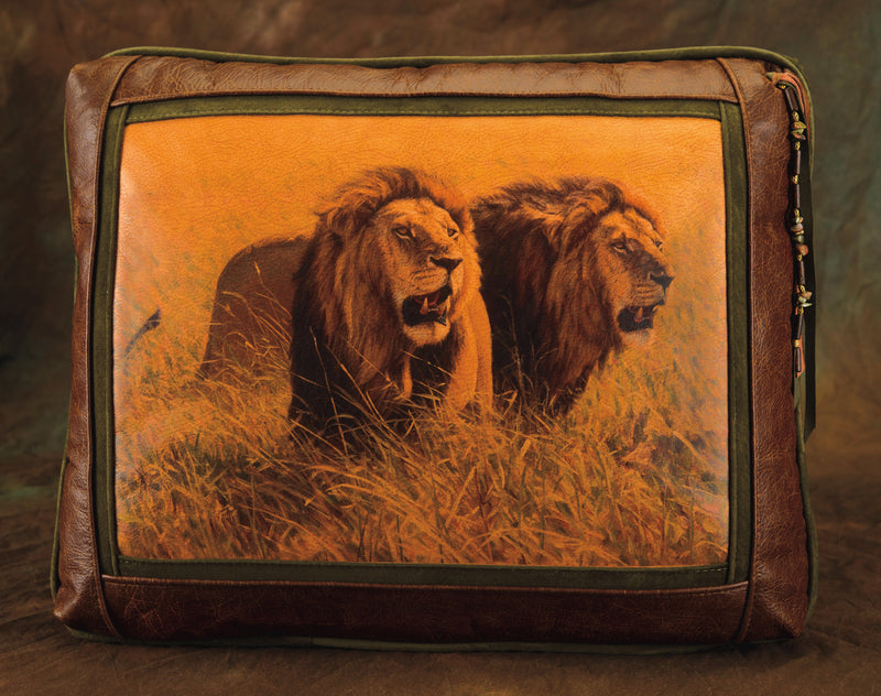 Banovich Designer Leather Pillow: Brothers in Arms - Lions - Sporting Classics Store