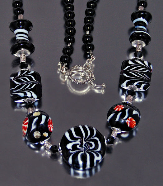 Handmade Tribal Tiles Glass Necklace
