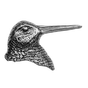 Woodcock Head Pewter Pin