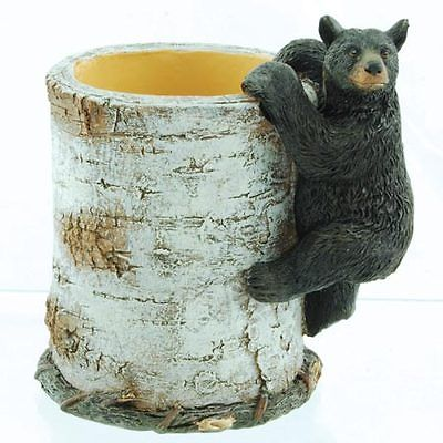 Black Bear Climbing Birch Pen/Pencil Holder