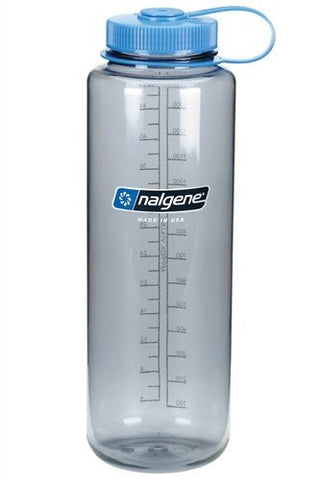 Nalgene Tritan 48oz Wide Mouth Silo, Gray w/ Blue Cap