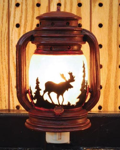 Electric Night Light Lantern with Moose Scene