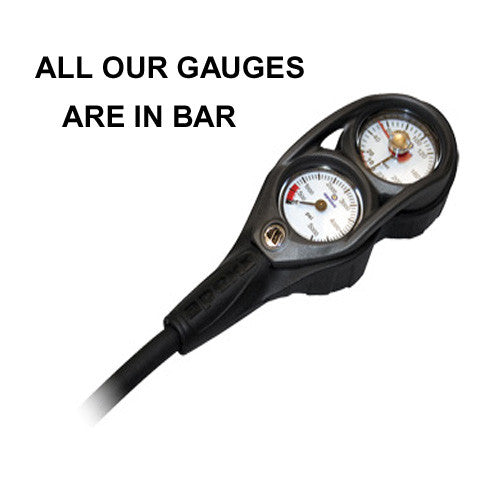 APEKS PRESSURE AND DEPTH GAUGE WITH RUBBER HOSE
