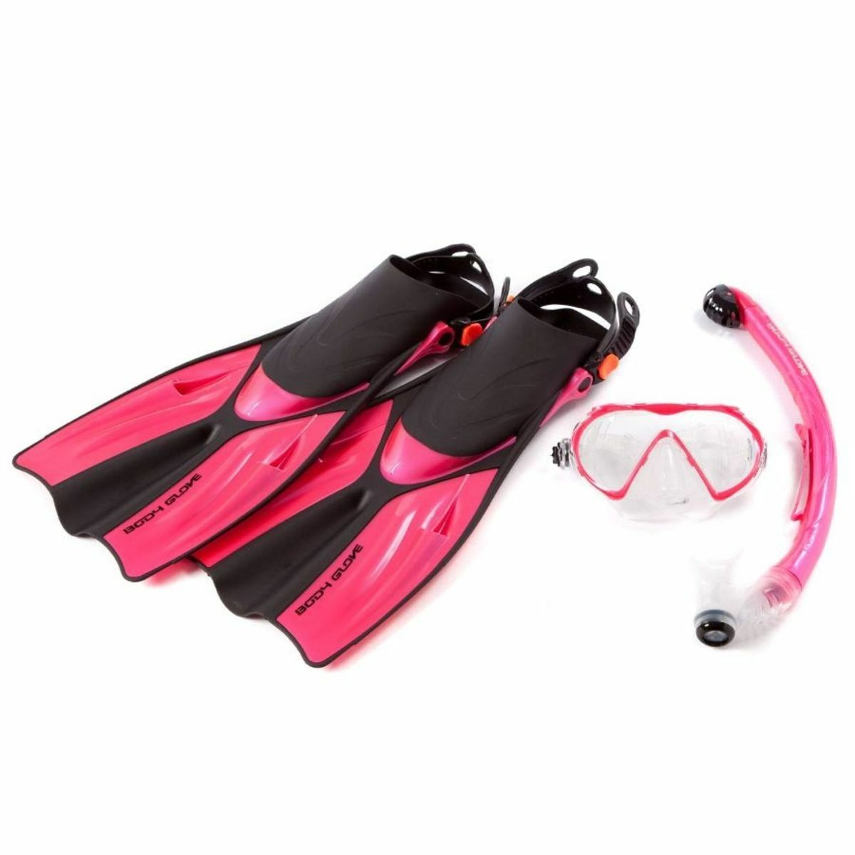 BODYGLOVE ADULT MASK FINS DRY SNORKEL SET FULL + BAG - SILICONE- Size UK 8-10.5