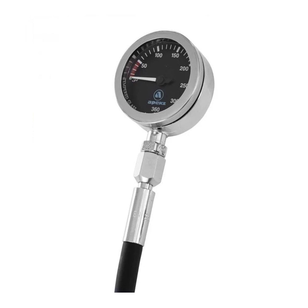 APEKS TEK GAUGE- BLACK FACED -WITH SHORT HP HOSE