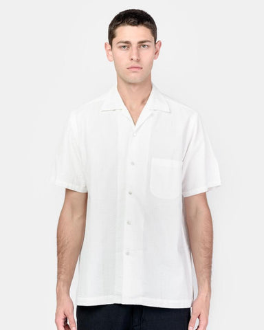 Seersucker Camp Shirt in White by SMOCK Man at Mohawk General Store