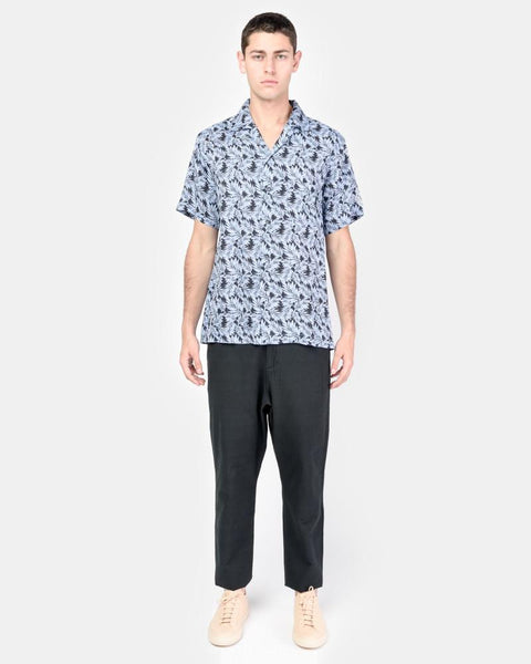 Camp Shirt in Blue Linen Floral by SMOCK Man at Mohawk General Store