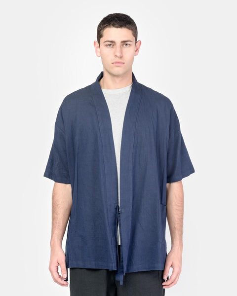 Onsen Cardigan in Indigo-Dyed Panama Cloth by SMOCK Man at Mohawk General Store