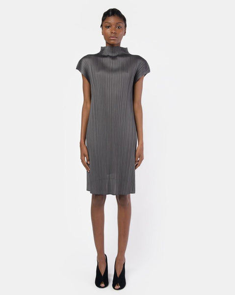 Mock Neck Sleeveless Top in Grey by Issey Miyake Pleats Please at Mohawk General Store