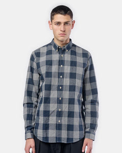 Glen Check Leisure Shirt in Dark Blue/Off White by Schnayderman's at Mohawk General Store