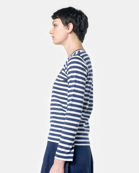 Long Sleeved Striped T-Shirt with Red Heart in Navy/White by Comme des Garçons PLAY at Mohawk General Store