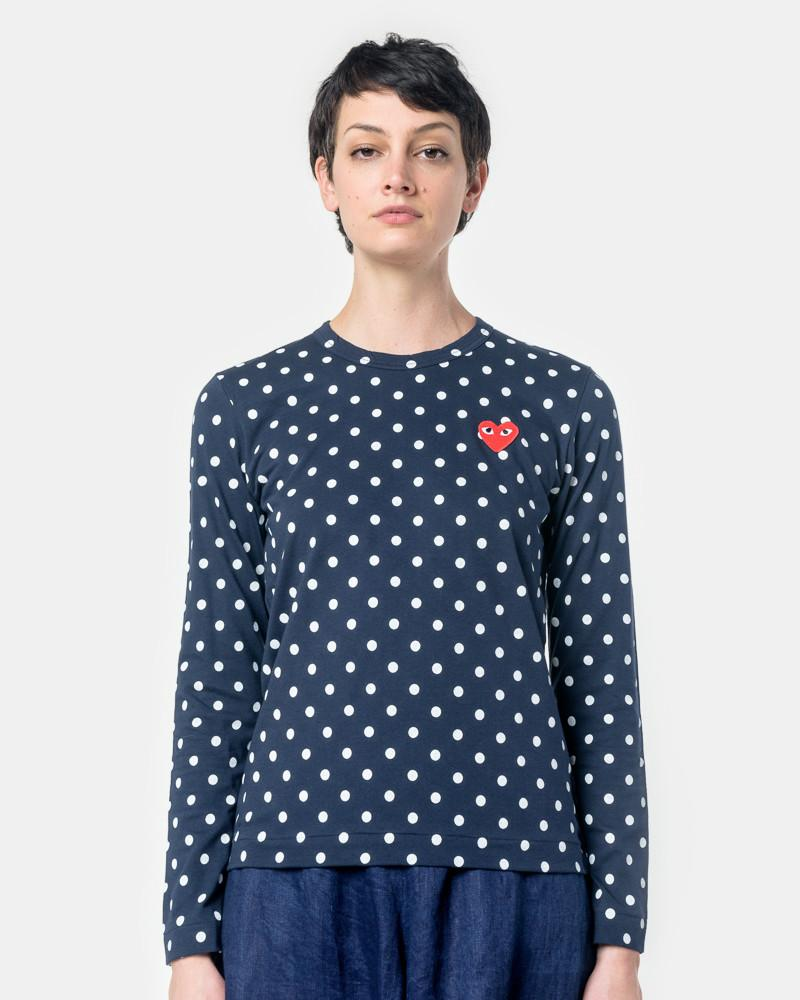 Long Sleeved Polka Dot T-Shirt with Red Heart in Navy/White by Comme des Garçons PLAY at Mohawk General Store