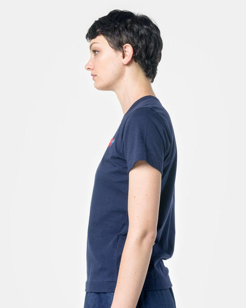 Play T-Shirt With Blue/Red Heart in Navy by Comme des Garçons PLAY at Mohawk General Store