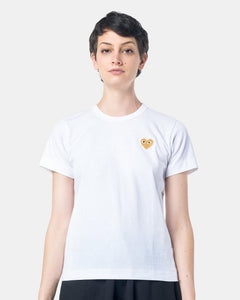 Play T-Shirt With Gold Heart in White by Comme des Garçons PLAY at Mohawk General Store