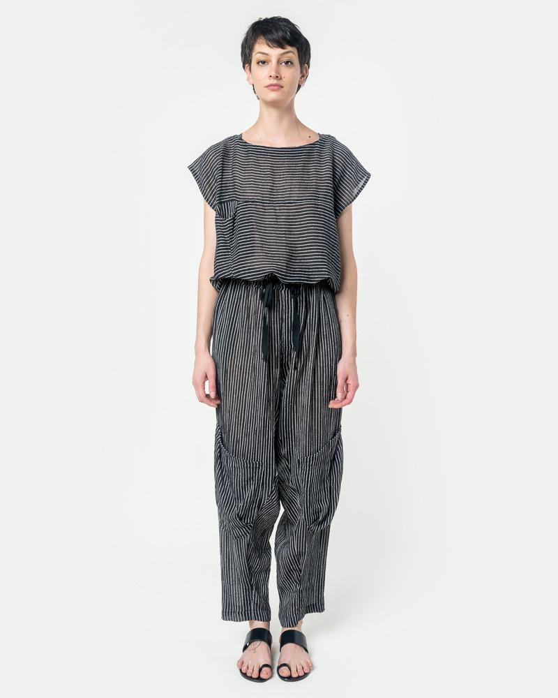 Accomplice Jumpsuit in Black/White Stripe by Electric Feathers at Mohawk General Store
