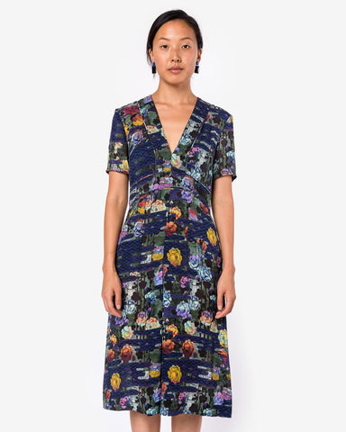 Trapunto Deep V Dress in Rainbow Forest by Raquel Allegra at Mohawk General Store