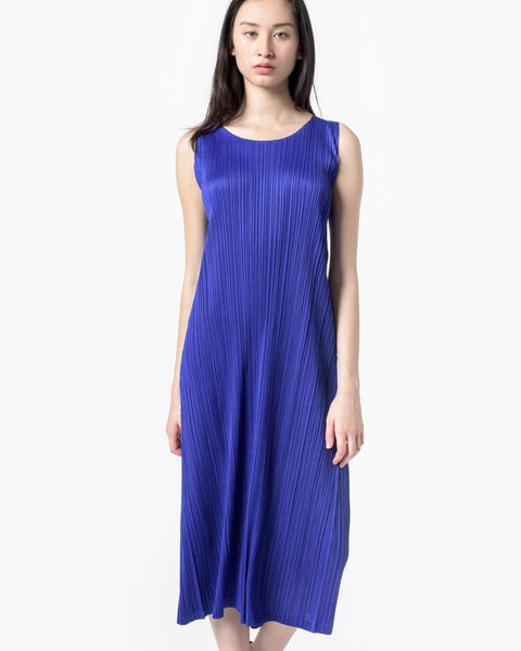 Long Dress in Cobalt by Issey Miyake Pleats Please at Mohawk General Store - 2