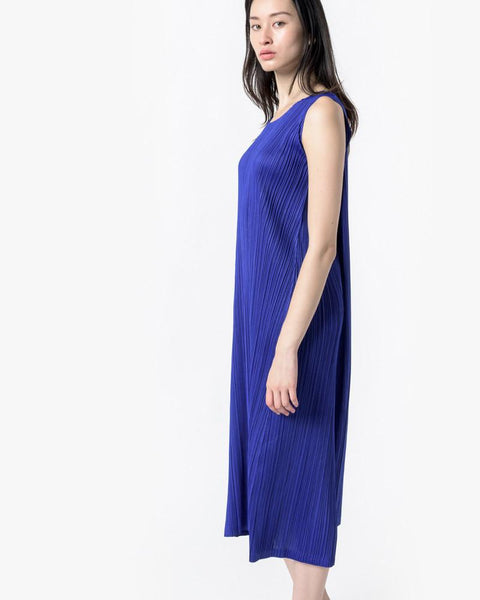 Long Dress in Cobalt by Issey Miyake Pleats Please at Mohawk General Store - 3