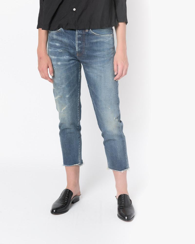 Selvedge Denim Narrow Tapered Cut Jeans in Used Repair by Chimala at Mohawk General Store - 1