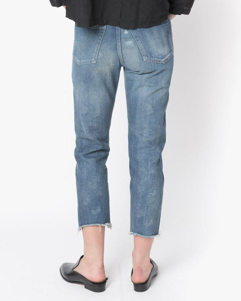 Selvedge Denim Narrow Tapered Cut Jeans in Used Repair by Chimala at Mohawk General Store - 3