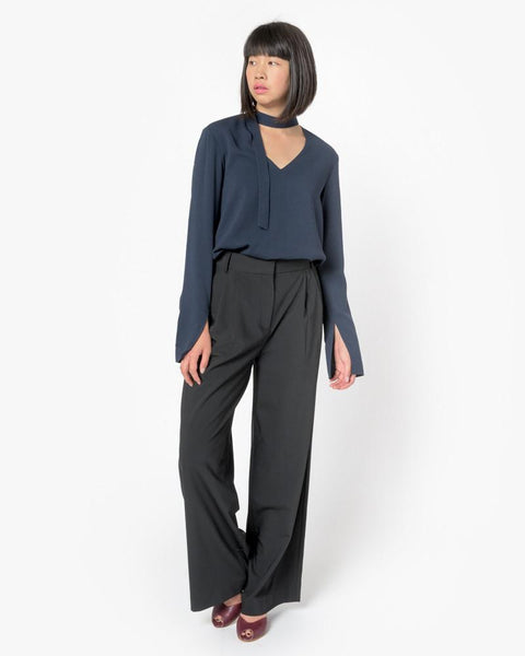 Savanna Crepe V-Neck Tie Top in Midnight Navy by Tibi at Mohawk General Store - 2