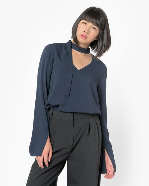 Savanna Crepe V-Neck Tie Top in Midnight Navy by Tibi at Mohawk General Store - 3