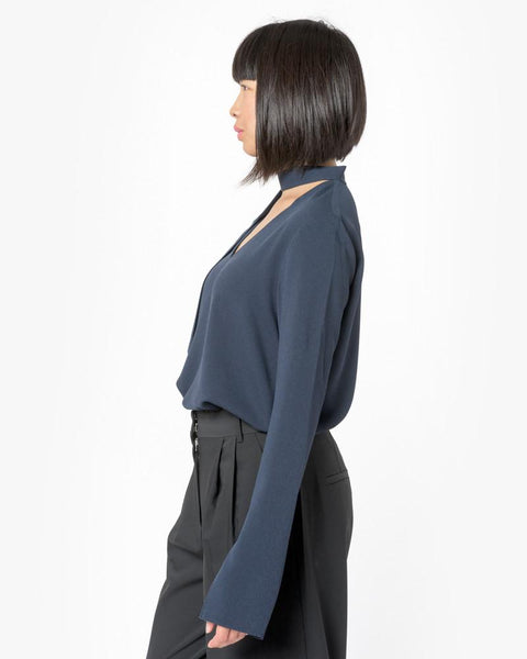 Savanna Crepe V-Neck Tie Top in Midnight Navy by Tibi at Mohawk General Store - 4