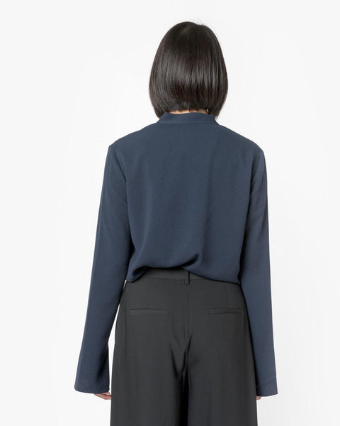 Savanna Crepe V-Neck Tie Top in Midnight Navy by Tibi at Mohawk General Store - 5