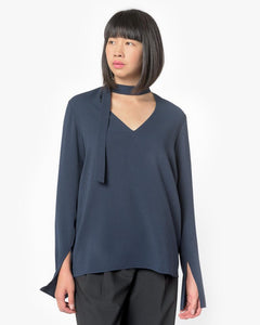 Savanna Crepe V-Neck Tie Top in Midnight Navy by Tibi at Mohawk General Store - 1
