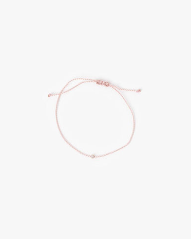 Flirty Cord Bracelet with White Diamond in Baby Pink by Hortense at Mohawk General Store - 1