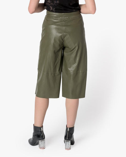 Faux Leather Shorts in Olive by MM6 Maison Margiela at Mohawk General Store