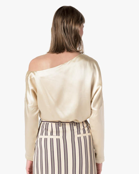 Crepe Satin Asymmetrical Top in Champagne by Tibi at Mohawk General Store