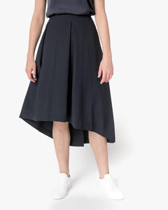 Piece of Ring Pleated Midi-Skirt in Black Blue by Kaarem at Mohawk General Store