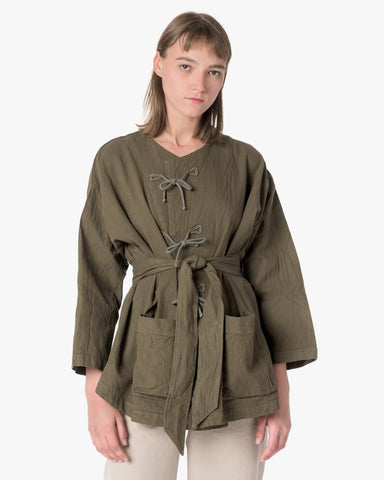 Belted Fisherman Jacket in Moss by SMOCK Woman at Mohawk General Store