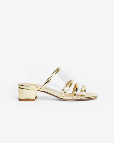 Martina Clear Slide in Gold Metallic by Maryam Nassir Zadeh at Mohawk General Store
