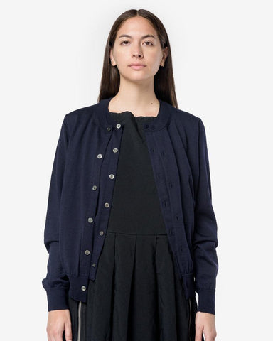 Wool Cardigan in Navy