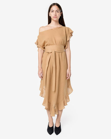Convertible Ruffle Kaftan Dress with Obi Belt in Ecru