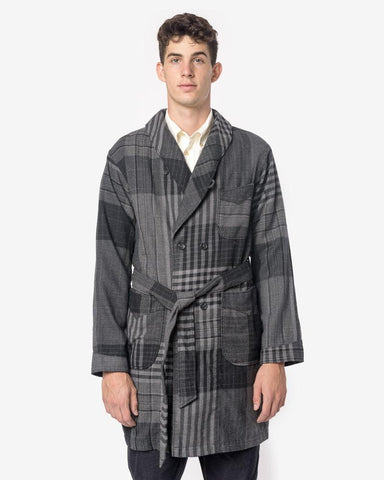 Wool Plaid Robe in Grey/Black