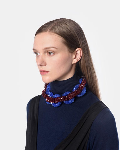 Chunky Beaded Necklace in Blue/Red