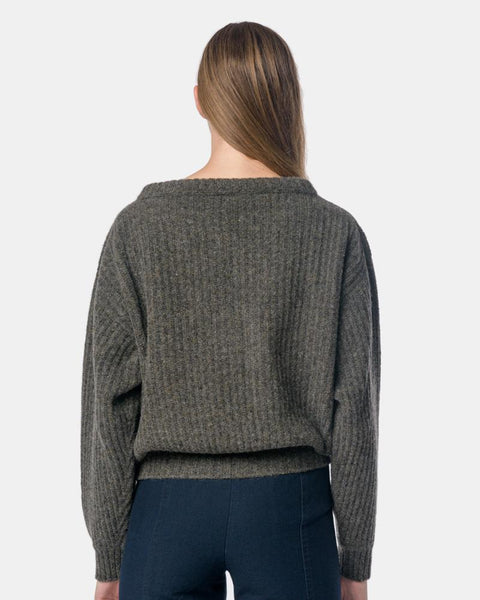 Large V-Neck Sweater in Granite by Lemaire Mohawk General Store