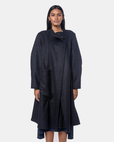 Wrapover Coat in Indigo by Lemaire Mohawk General Store