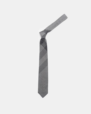 Neck Tie in Grey Plaid